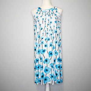 AA Studio White/Blue Floral Knee-Length Dress